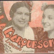 Cine: PROGRAMA SENCILLO DE LA MARQUESONA (1939), CON PASTORA IMPERIO Y LUCHY SOTO. Lote 190102602