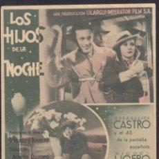 Cine: PROGRAMA SENCILLO DE LOS HIJOS DE LA NOCHE (1939) - CINE NORBA DE CÁCERES. Lote 190176908
