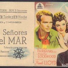Flyers Publicitaires de films Anciens: PROGRAMA DOBLE DE SEÑORES DEL MAR (1939) - CINEMA VICTORIA DE TERUEL. Lote 190296106