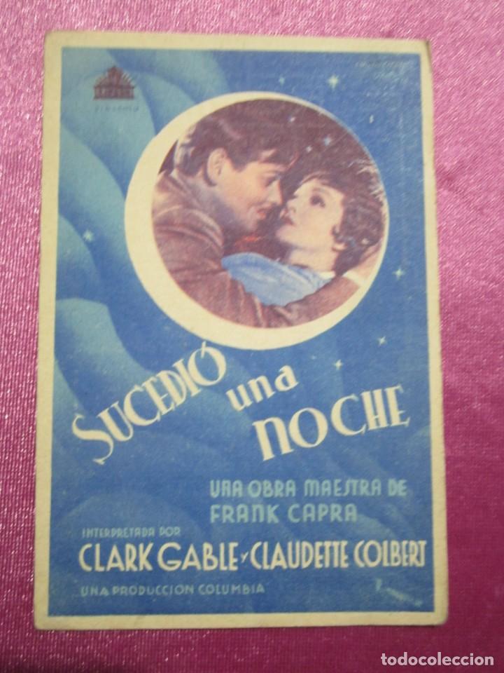 SUCEDIO UNA NOCHE TARJETA CLARK GABLE PROGRAMA CINE ROMA GIJON. (Cine - Folletos de Mano - Aventura)