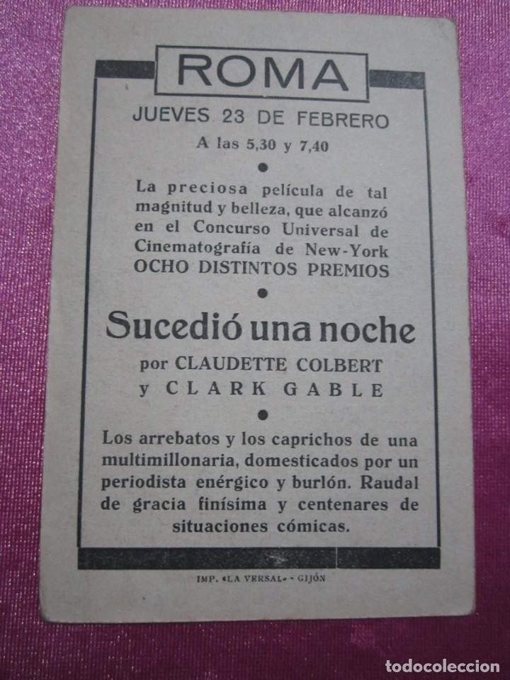 Cine: SUCEDIO UNA NOCHE TARJETA CLARK GABLE PROGRAMA CINE ROMA GIJON. - Foto 4 - 190367313