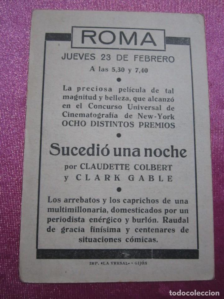 Cine: SUCEDIO UNA NOCHE TARJETA CLARK GABLE PROGRAMA CINE ROMA GIJON. - Foto 5 - 190367313