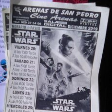Cine: FOLLETO DE MANO - CINES ARENAS DE SAN PEDRO - STARS WAR - ASCENSO DE SKYWALKER - 2019. Lote 190420201
