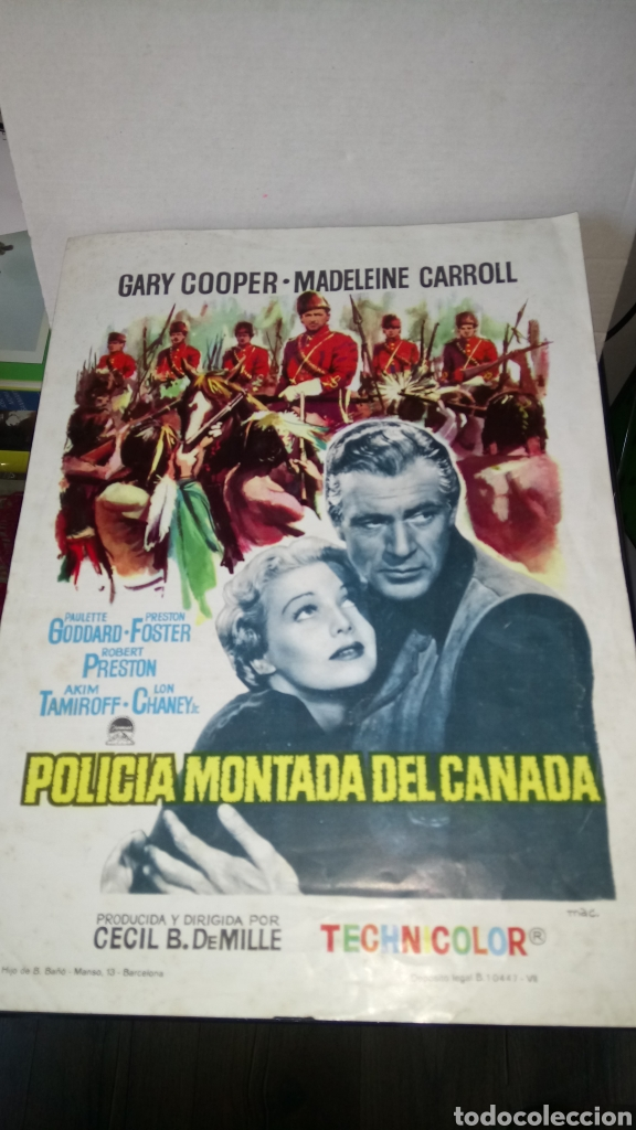 PROGRAMA DE CINE DE POLICÍA MONTADA DEL CANADÁ. CECIL B. DEMILLE. (Cine - Folletos de Mano - Acción)