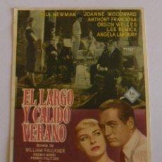 Cine: PROGRAMA DE CINE EL LARGO Y CALIDO VERANO. Lote 190610513