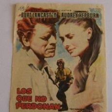Cine: PROGRAMA DE CINE LOS QUE NO PERDONAN. Lote 190612306
