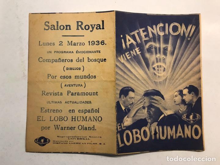 GUERRA CIVIL. CASTELLÓN CINE SALÓN ROYAL FOLLETO DE MANO. EL LOBO HUMANO. (MARZO DE 1936) (Cine - Folletos de Mano - Terror)