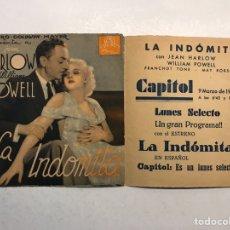 Cine: GUERRA CIVIL. CASTELLÓN CINE CAPITOL FOLLETO DE MANO LA INDOMITA CON JEAN HARLOW (A.1936). Lote 190652345