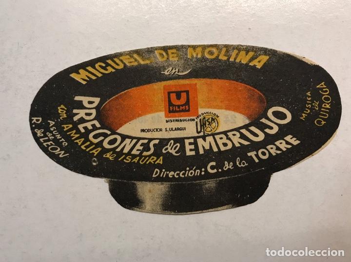 MIGUEL DE MOLINA. CINE ROMEA CASTELLÓN FOLLETO DE MANO TROQUELADO PREGONES DE EMBRUJO (A.1944) (Cine - Folletos de Mano - Clásico Español)