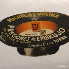 Cine: MIGUEL DE MOLINA. CINE ROMEA CASTELLÓN FOLLETO DE MANO TROQUELADO PREGONES DE EMBRUJO (A.1944). Lote 190693676