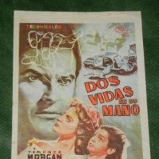 Cine: PROGRAMA DE MANO - DOS VIDAS EN SU MANO - MAJESTIC CINEMA BARCELONA 1959. Lote 190610843