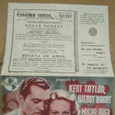 Cine: PROGRAMA CINE. RECETA DE AMOR. KENT TAYLOR, WENDY BARRY. CINEMA IDEAL OLOT.. Lote 190853428