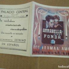Cine: PROGRAMA CINE. ESO QUE LLAMAN AMOR. PALACIO CENTRAL EN ESPAÑOL. BARCELONA ?. Lote 190854691