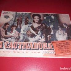 Cine: LA CAUTIVADORA .PUBLICIDAD AL DORSO. AÑO 1949. Lote 190870352