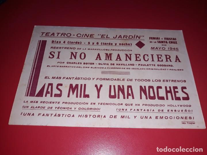 Cine: Las Mil y Una Noches. Publicidad al dorso. Año 1942. - Foto 2 - 190873175