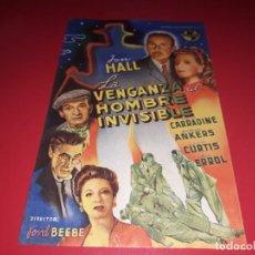 Cine: FOLLETO GRANDE LA VENGANZA DEL HOMBRE INVISIBLE. AÑO 1944. Lote 190988992