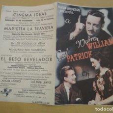 Cine: PROGRAMA DE CINE, EL BESO REVELADOR. CINEMA IDEAL OLOT. WARREN WILLIAM . Lote 191033647