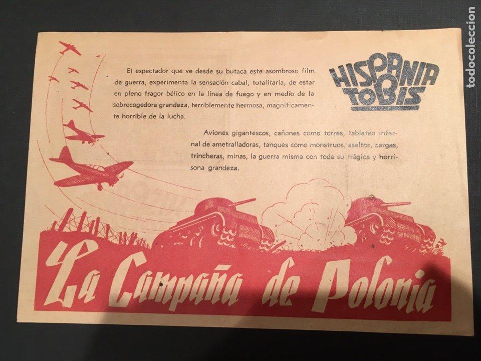 Cine: LA CAMPAÑA DE POLONIA PROGRAMA DOBLE HISPANIA TOBIS DOCUMENTAL ALEMAN SEGUNDA GUERRA MUNDIAL - Foto 3 - 11417198