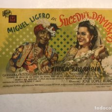 Cine: CINE CAPITOL CASTELLÓN. SUCEDIÓ EN DAMASCO, CON MIGUEL LIGERO. FOLLETO DE MANO DOBLE (A.1943). Lote 191213650