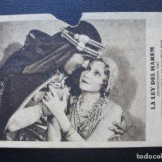 Cine: LA LEY DEL HARÉN, JOSÉ MOJICA, TEATRO SERRANO DE SUECA, 1932. Lote 191342235