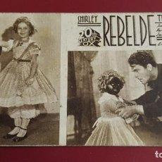 Cine: PROGRAMA DE MANO - REBELDE - SHIRLEY TEMPLE - 14X8CM - CON PUBLICIDAD. Lote 191474308
