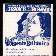Cine: PROGRAMA DE CINE DOBLE: AGENTE BRITANICO. KAY FRANCIS Y LESLIE HOWARD. CON PUBLICIDAD. Lote 191536991