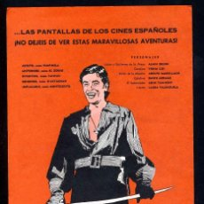 Cine: PROGRAMA DE CINE: TULIPAN NEGRO. ALAIN DELON. VIRNA LISI, ADOLFO MARSILLACH. Lote 191537451
