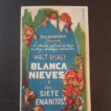 Cine: BLANCA NIEVES Y LOS SIETE ENANITOS 1943 PROGRAMA DE MANO PUBLICIDAD CINE CAPITOL SANTIAGO DE COMPOST. Lote 191612175