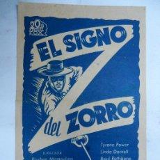 Cine: EL SIGNO DEL ZORRO- TYRONE POWER, LINDA DARNELL, BASIL RATHBONE SENCILLO 20 CENTURY FOX BIEN CONSERV. Lote 191733857