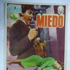 Cine: MIEDO PROGRAMA ANTONIO VILAR LEON KLIMOVSKY SENCILLO VICTORY FILMS TERROR ESPAÑOL PIE GRAFICAS VA. Lote 191734578