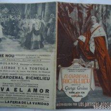 Cine: EL CARDENAL RICHELIEU 1936 GEORGE ARLISS MAUREEN O'SULLIVAN CON PUBLICIDAD CINE NOU PROGRAMA DOBLE A. Lote 191803406