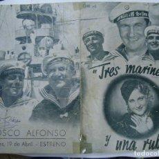 Cine: TRES MARINEROS Y UNA RUBIA 1938 CHARLOTE ANDER, HEINZ RUHMANN CON PUBLICIDAD DEL KIOSCO ALFONSO . Lote 191806902