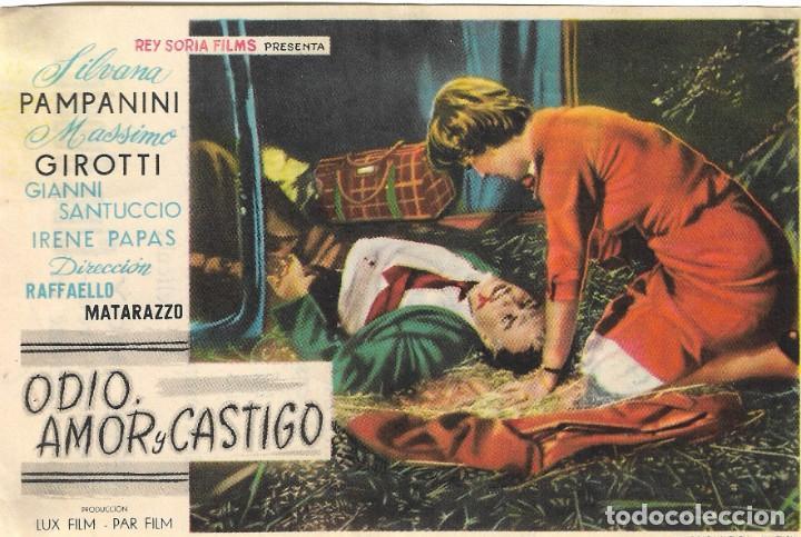 PROGRAMA DE CINE - ODIO, AMOR Y CASTIGO - SILVANA PAMPANINI, MASSIMO GIROTTI - CINE AVENIDA (MÁLAGA) (Cine - Folletos de Mano - Drama)