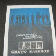 Cine: PROGRAMA DE CINE. GRUPO SALVAJE. WILLIAM HOLDEN. ERNEST BORGINE.. Lote 191954978
