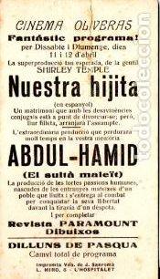 Cine: NUESTRA HIJITA SHIRLEY TEMPLE - CARTULINA - IMPRESO AMBAS CARAS - Foto 2 - 192248891