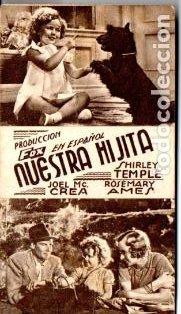 NUESTRA HIJITA SHIRLEY TEMPLE - CARTULINA - IMPRESO AMBAS CARAS (Cine - Folletos de Mano - Infantil)