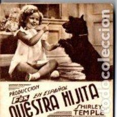 Cine: NUESTRA HIJITA SHIRLEY TEMPLE - CARTULINA - IMPRESO AMBAS CARAS. Lote 192248891