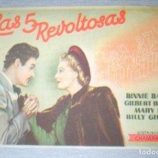 Cine: PROGRAMA DE CINE - LAS 5 REVOLTOSAS. Lote 210317500