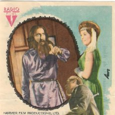 Cine: PROGRAMA DE CINE - RASPUTIN - CHRISTOPHER LEE, BARBARA SHELLEY - CINE DUQUE (MÁLAGA) - 1969.. Lote 192478746