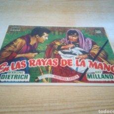 Cine: PROGRAMA DE CINE SIMPLE. EN LAS RAYAS DE LA MANO. MARLENE DIETRICH Y RAY MILLAND. Lote 192636100