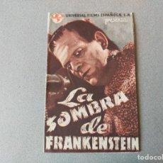 Cine: PROGRAMA DE CINE: LA SOMBRA DE FRANKESTEIN, B. KARLOFF Y B. LUGOSI - DOBLE ORIGINAL SIN PUBLICIDAD. Lote 192794310