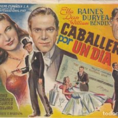 Cine: CABALLERO POR UN DIA. PROGRAMA SENCILLO, GRANDE CON PUBLICIDAD.. Lote 193013062