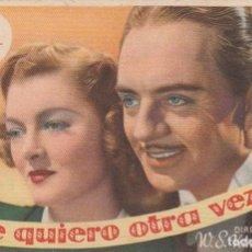 Cine: TE QUIERO OTRA VEZ. PROGRAMA SENCILLO CON PUBLICIDAD.. Lote 193015395