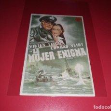 Cine: LA MUJER ENIGMA CON VIVIEN LEIGH. PUBLICIDAD AL DORSO. AÑO 1937. Lote 193181463