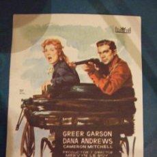 Cine: LA PELIRROJA INDOMITA - SENCILLO CON PUBLICIDAD CINE LICEO BARCELONA - PERFECTO. Lote 193276295