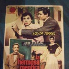 Cine: LA HERMOSA MENTIRA - SENCILLO CON PUBLICIDAD CINE LICEO BARCELONA - PERFECTO. Lote 193278273