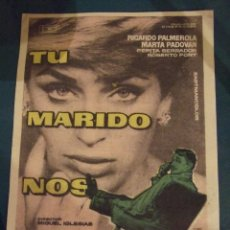 Cine: TU MARIDO NOS ENGAÑA - SENCILLO CON PUBLICIDAD CINE LICEO BARCELONA - PERFECTO. Lote 193278398