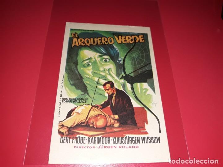 EL ARQUERO VERDE. PUBLICIDAD AL DORSO. AÑO 1961. (Cine - Folletos de Mano - Suspense)