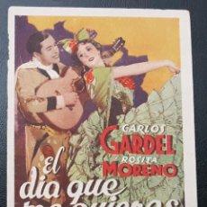 Cine: EL DIA QUE ME QUIERAS, CARLOS GARDEL, PROGRAMA PARAMOUNT AÑOS 30. Lote 193644643