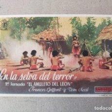 Cine: PROGRAMA DE CINE: EN LA SELVA DEL TERROR CON FRANCES GRIFFORD Y TOM NEAL - ORIGINAL SIN PUBLICIDAD.. Lote 193731503